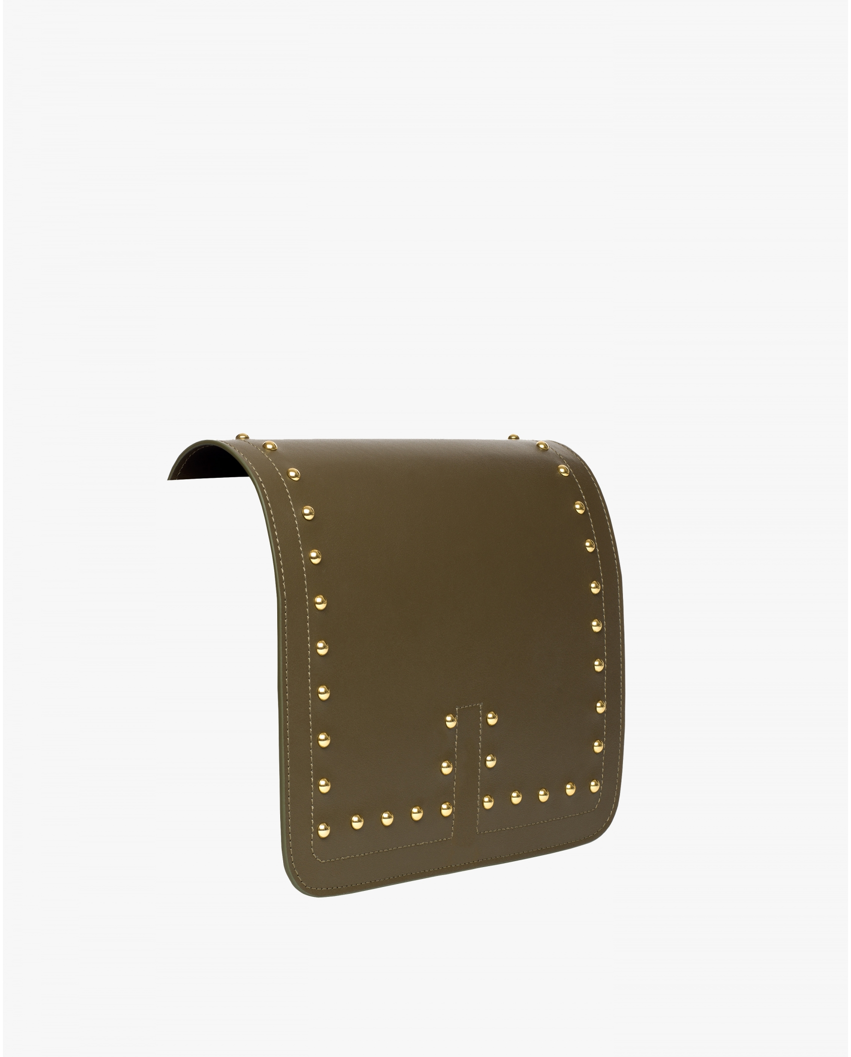 TINO LEATHER STUDS FLAP TRUFFLE